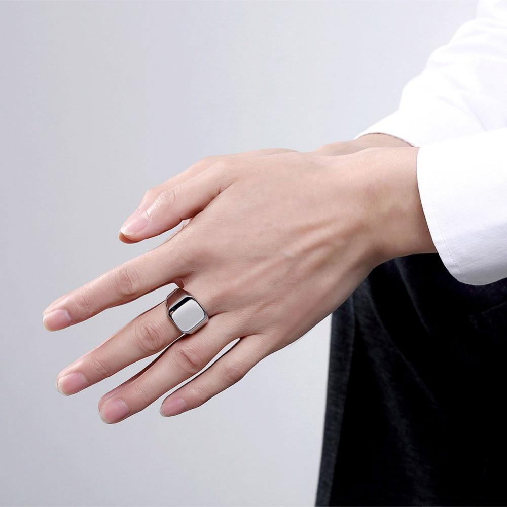 Fashion Big Square Titanium Steel Statement Men Jewelry Finger Rings ...