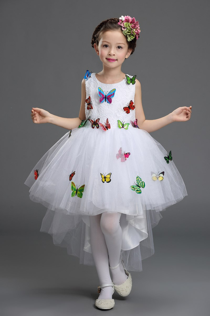 Tulle Ruffle Party Wedding Clothes White Pink Butterflies Applique Party Dresses for Tail Princess Pageant Gown Child lace applique ruffle top
