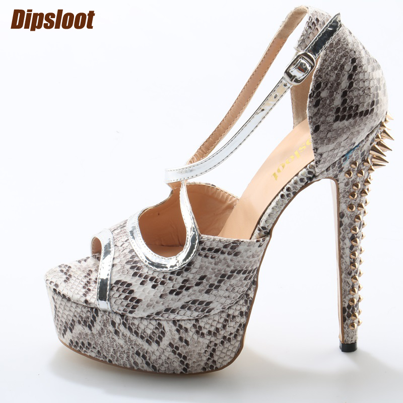 Super Hot Python Leather Women Peep Toe Pumps High Platform Cross Leather Strap Ladies Sexy High Heels Rivet Back Party Shoes sexy peep toe and super high heels design pumps for women