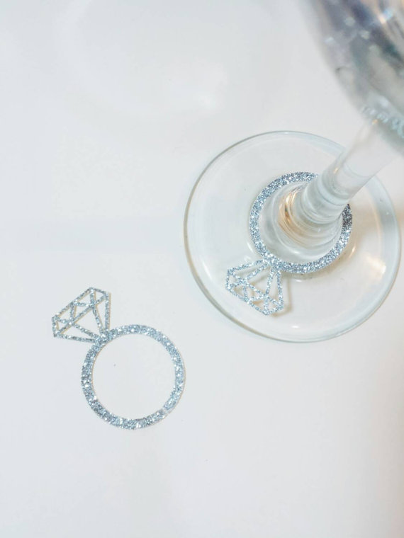 Glitter Drink Markers Rings Wine Glass Ring Charms Wedding Engagement Bridal Shower Party Table Decors Cards In Invitations From Home Garden