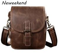 NEWEEKEND Retro Men Genuine Leather Cowhide Small Waist Shoulder Crossbody Phone Bag Handbag For IPhone Samsung