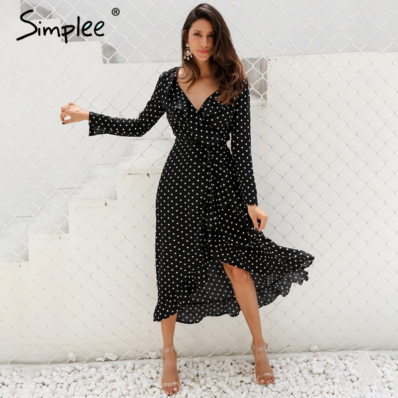 Simplee Polka dot rüschen wrap lange kleid Frauen Split langarm frühling casual kleid 2018 Streetwear schwarz maxi kleid vestidos