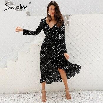 2adccfc4e75a71 Simplee Polka dot ruches wrap lange jurk Vrouwen Split lange mouwen lente  casual dress 2018 Streetwear zwarte maxi jurk vestidos