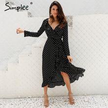 Simplee Polka dot ruffle wrap long dress Women Split long sleeve spring casual dress 2018 Streetwear black maxi dress vestidos