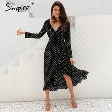 5c71bbc19 Simplee Polka dot vestido abrigo vestido largo mujer Split manga larga  primavera vestido casual 2018 Streetwear negro maxi vesti.