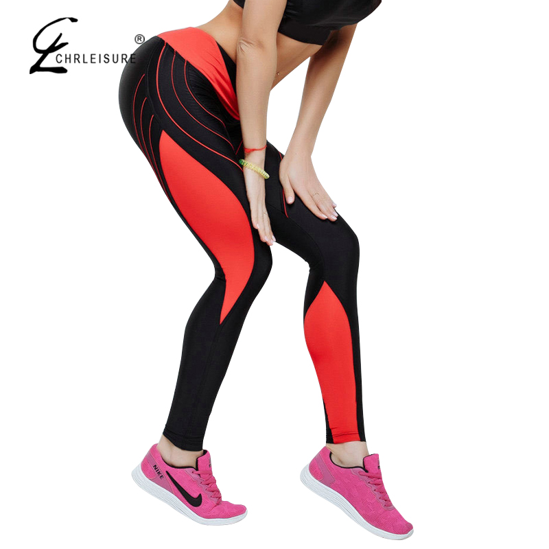 CHRLEISURE 5 Farbe Hohe Taille Workout Leggings Frauen Sexy Colorblock Gedruckt Jogginghose Weiblich Polyester Leggins