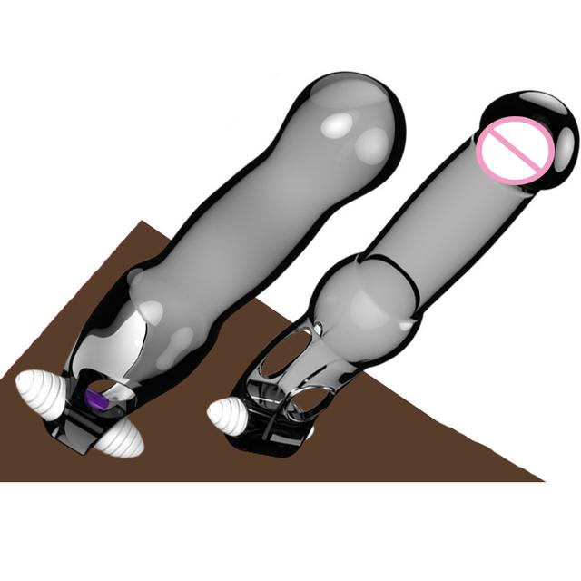 New silicone extensor de pénis manga penis anel vibrador reutilizáveis preservativos produtos do sexo da ampliação do pénis para o homem