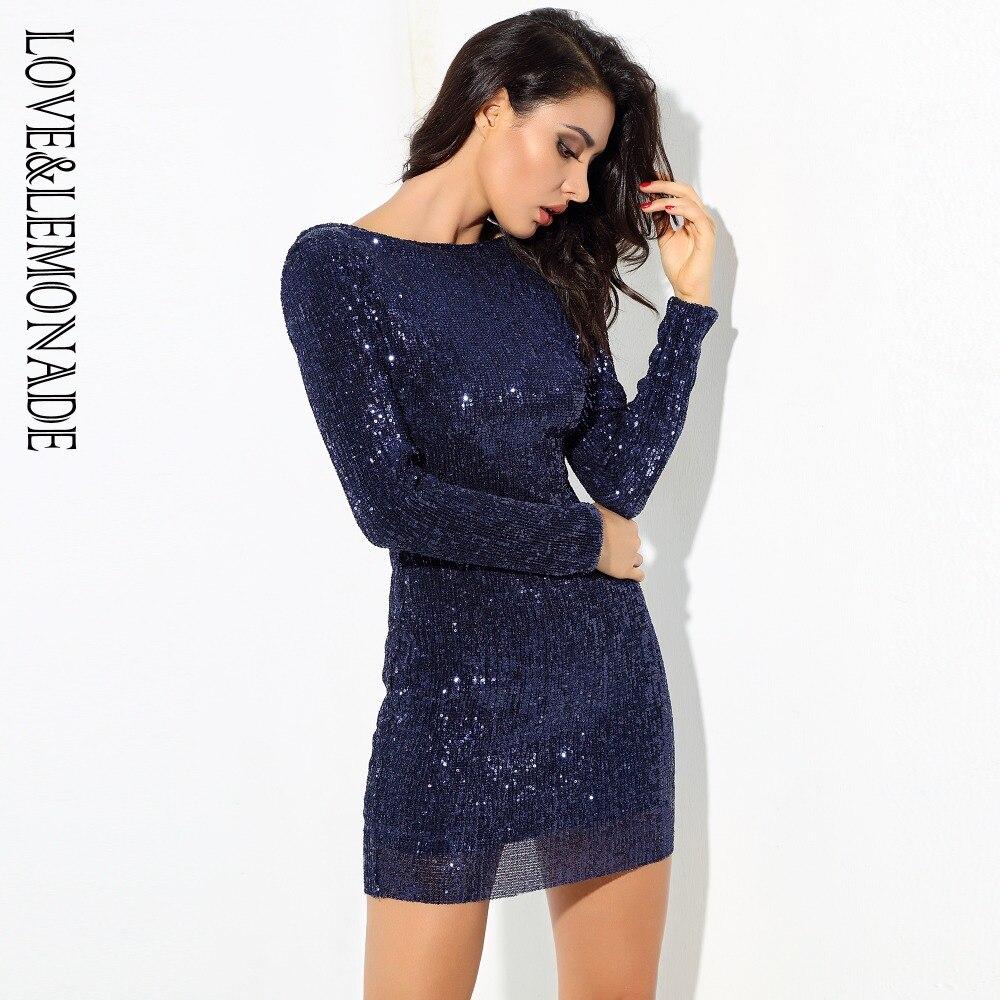 ... design d8359 ab448 LoveLemonade Dark Blue Open Back Stretch Beads Shrug  Dress LM0572-in  wholesale dealer 261d2 d508c LoveLemonade Color Sequins V- Neck ... c5888eeb9bae