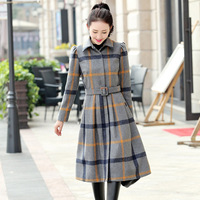Autumn And Winter New Women S Korean Slim Was Thin Long Sleeved Thick Plaid Long Fashion