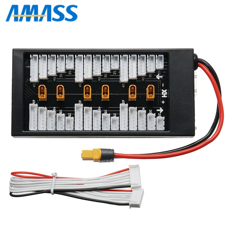 Amass XT30 Plug Parallel Charging Board XT60 Input For iSDT D2 Q6 SC-608 SC-620 Balance Balancing Charger for Lipo Battery DIY rc model airplane parts lipo battery balance charger pl8 pl6 icharger 4 way xt60 plug parallel charge board dual xt90 connector