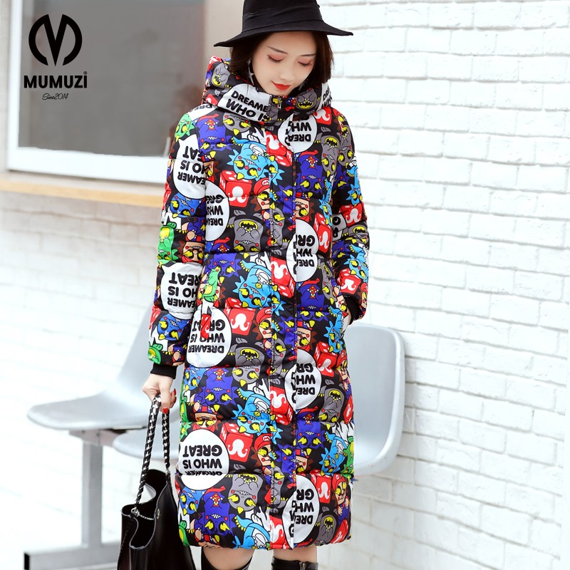 2017 Fashion winter women Long coat womens jacket printing was thin down cotton padded thick coat windbreaker plus size long coat womens jacket new printing was thin down cotton padded thick coat windbreaker