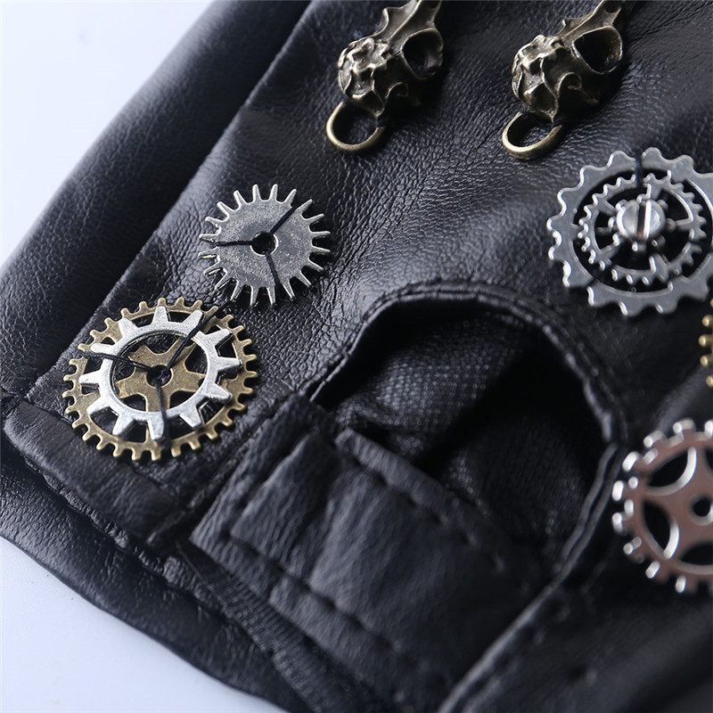 Japanese Harajuku Vintage Steampunk Gear Gloves Punk Lolita Cosplay PU Leather Gloves Gothic Unisex Cosplay Gloves Accessory
