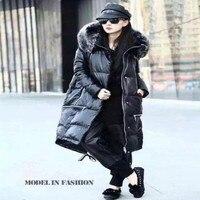 M 2XL European Winter Women Thickening Outerwear Zippers Female Loose Leather Down Coat Women's Long Sheepskin Down Coat