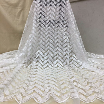2019 High Quality Nigerian French Lace African Lace Fabric white Flower Sequined Guipure Mesh Lace For Party Dresses x14-84