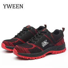 YWEEN plus size steel toe cap men work & safety boots mid sole impact resistant Men shoes