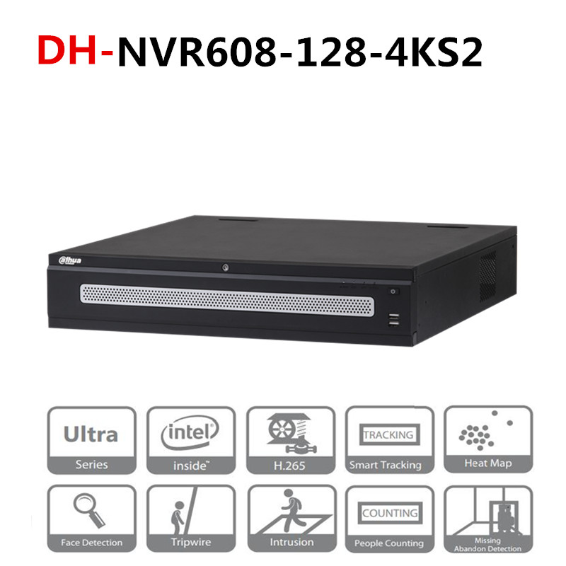 DH 128 Channel Ultra 4 K H.265 DH-NVR608-128-4KS2 Com Logotipo 8 DH Portas Sata Gravador de Vídeo em Rede 2 Monitor HDMI 12MP