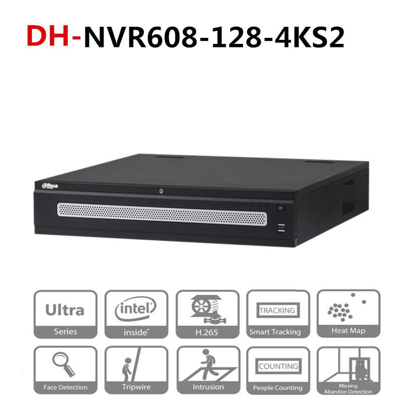 DH 128 Channel Ultra 4 K H.265 DH-NVR608-128-4KS2 Com Logotipo 8 DH Portas Sata Gravador de Vídeo em Rede 2 Monitor HDMI 12MP