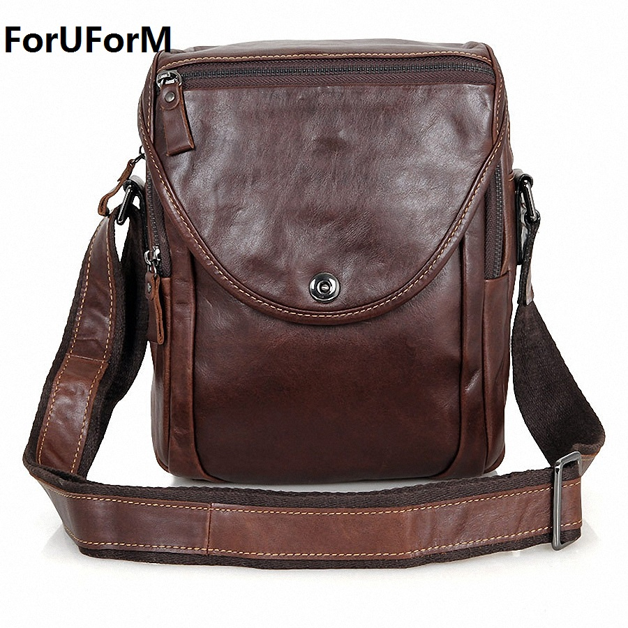 ForUForM 2017 New Brand 100% Genuine Leather Men messenger Bag Vintage Cowhide Crossbody Bags for man bolso mens bags LI-1580