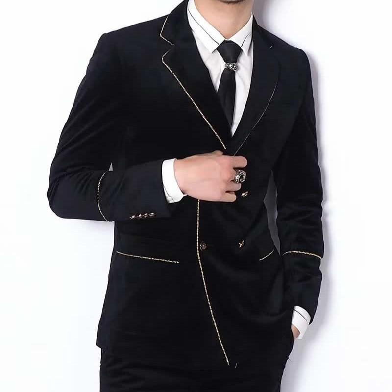 Double Breast Velvet Suit 2019 Contrast Gold Yarn Black Wedding Suit Smoking Uomo Groom Men Slim Fit Designer Tuxedo Marriage