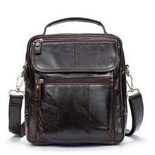 Men Shoulder Bag Messenger Bag Genuine Leather Men's bags Man Small Flap Casual Crossbody Bags for men handbags 8870 недорого
