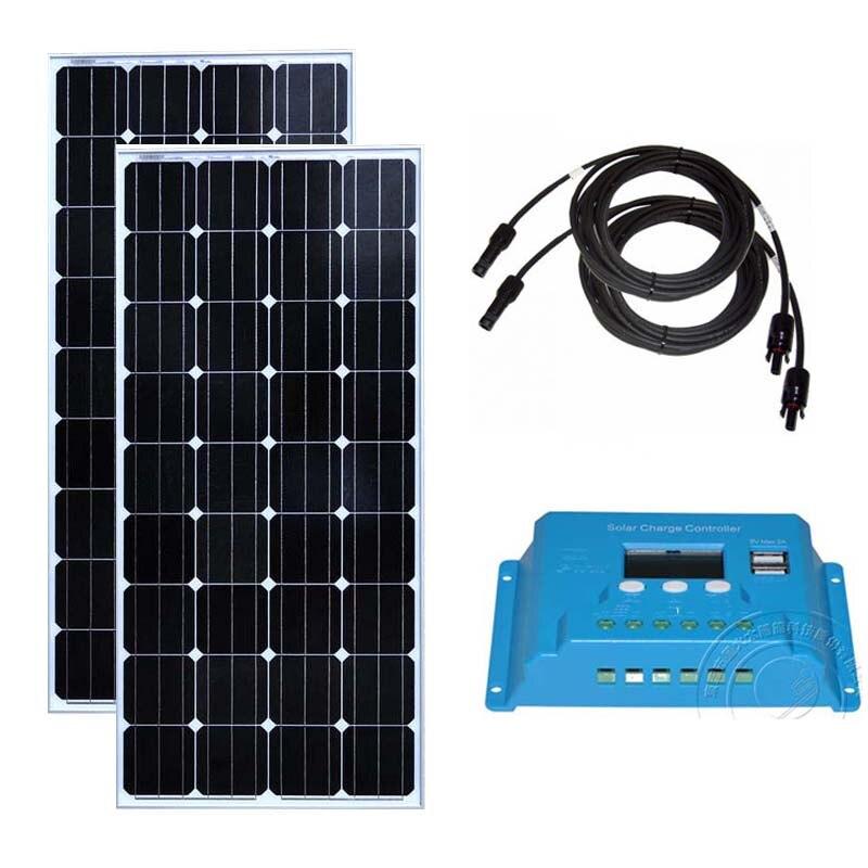 Panneau Solaire Monocristallin 300wat Solar Panel 12v 150w 2Pcs Solar Charge Controller 12v/24v 10A Caravan Car Camp Motorhome|Solar Cells| |  - title=