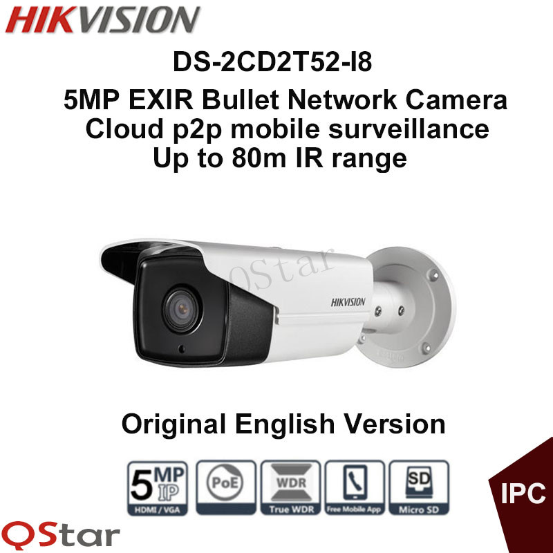 Hikvision Original English Version Surveillance Camera DS-2CD2T52-I8 5MP EXIR Bullet POE CCTV Security IP Camera 80m CCTV Camera