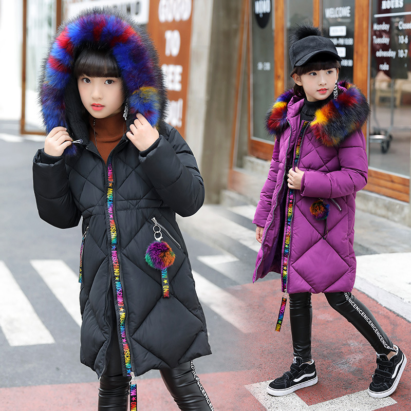 Winter Children's Jacket for Girl Thick Long Warm Coat Kid Fashion Girl Colorful Fur Collar Outerwear Clothes Kids Winter Parkas winter children s jacket for girl thick long warm coat kid fashion girl colorful fur collar outerwear clothes kids winter parkas