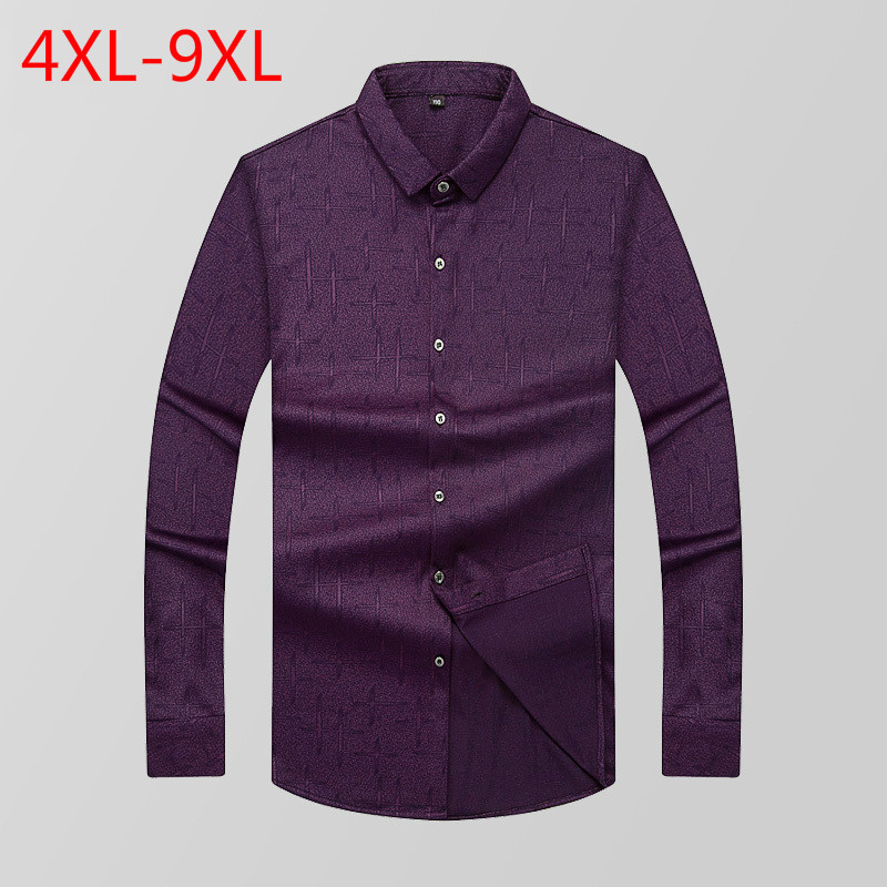 Autumn New Pattern Man Long Sleeve Shirt Lapel Printing Easy Business Affairs Increase Fertilizer Enlarge Code Avoid Burn Shirt