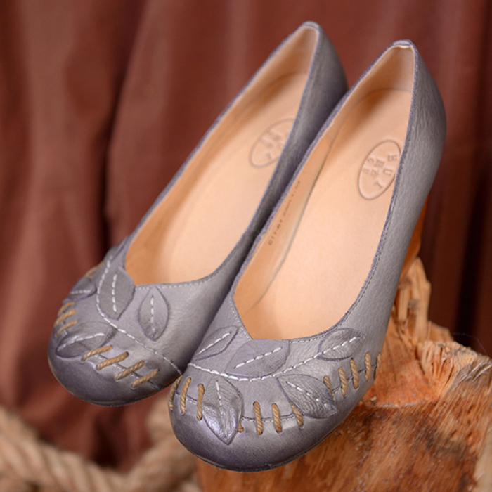 High quality women's shoes handmade genuine leather round toe shallow mouth thick heel high-heeled shoes autumn shoes elegant