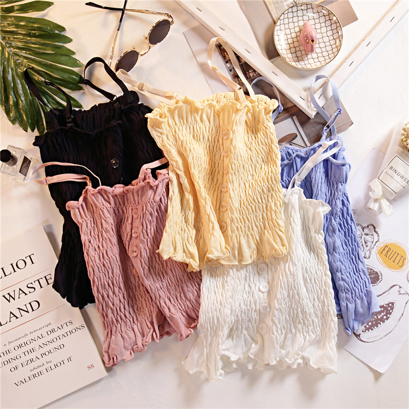 Women Knitting Ruffles Buttons Cropped   Tanks     Tops   Girls Knitted Sweet Chic Camisole crop   Top   With Adjustable Spaghetti Straps
