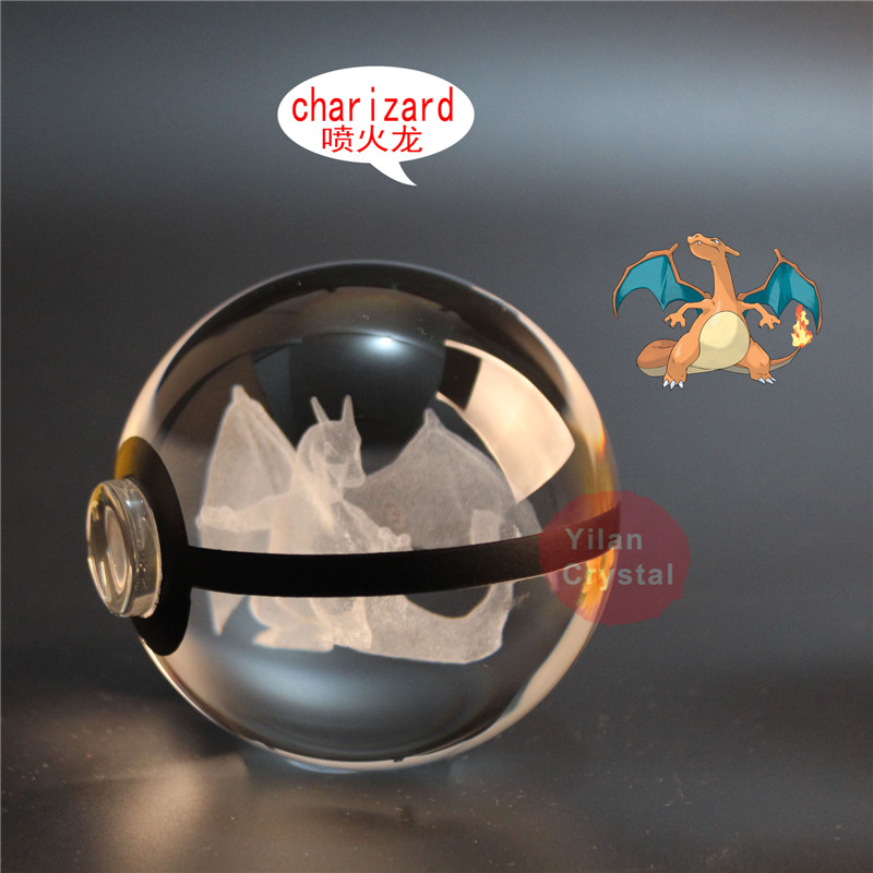 Fashion Pokemon Design Charizard Crystal Go Pokemon Ball With LED Base  Crystal Pokemon Poke Ball