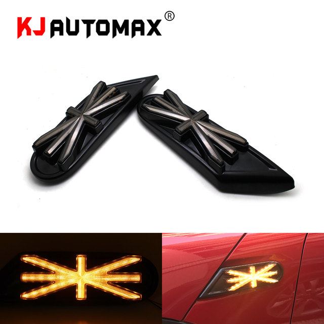 Car Styling Dynamic blink Side Marker light For Mini Cooper R55 R56 R57 R58 R59 LED Turn Signal indicator Union Jack Accessories