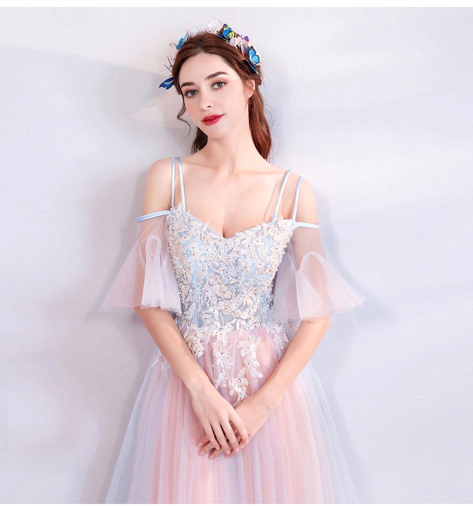 Elegant Off The Shoulder Tulle Long Bridesmaid Dress 5