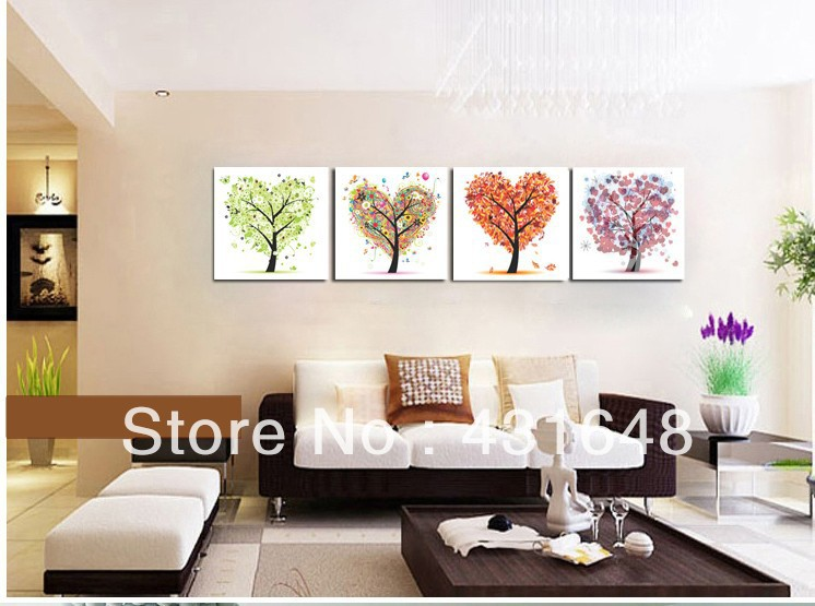 New 2014 pictures modern 4 piece canvas wall art oil painting the ...