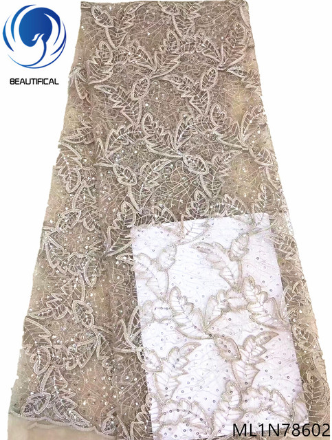 Beautifical latest african lace 2019 glitter sequin african sequins lace fabric wedding lace fabric design cheap online ML1N786