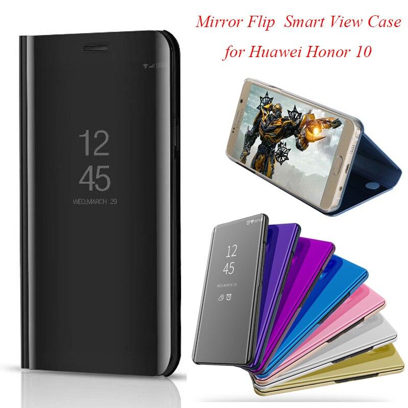 Honor10 10 Inteligente Virar Espelho Stand Case Para Huawei Honor Caso Clear View Capa de Couro PU Para Huawei Honor 10 tampa Do caso