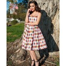 40-de las mujeres de los años 60 vintage pinup jenny vestido 1950 arlequín rockabilly vestido plus tamaño swing de la correa de espagueti halter jurken