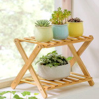 Landing Wood 2 Layers Flower Stand Folding Succulents Plant Bonsai Shelf Home Decor Balcony Fleshy Flowerpot Shelf Shelves