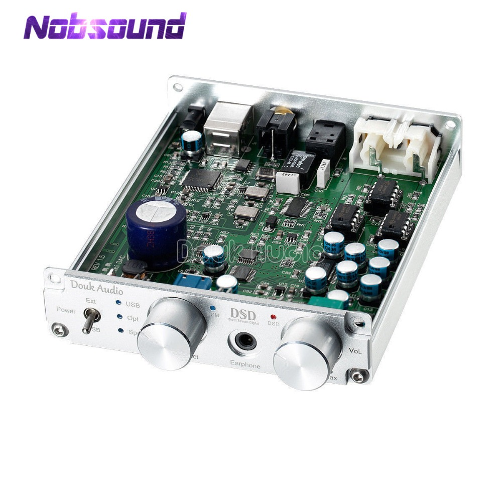 Nobsound USB Xmos Optical Coaxial DAC Audio Decoder Amplifier PCM384K DSD256 With Headphone Jack nobsound mini es9038 xmos coaxial optical csr8675 bluetooth5 0 aptx hd usb dop dac headphone amplifier digital analog converter