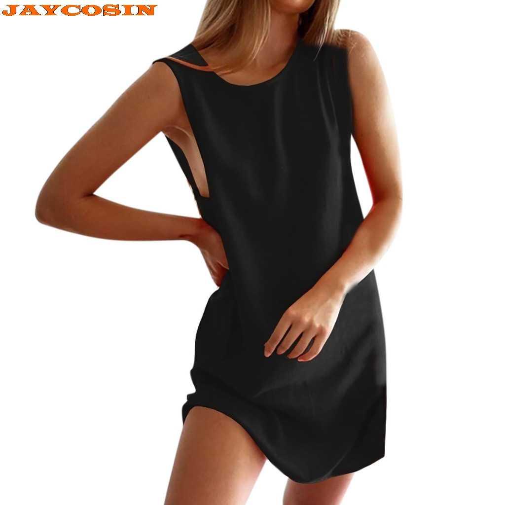 JAYCOSIN ホット高品質の女性のファッションノースリーブ O ネックソリッドカジュアルミニパーティービーチポリエステルドレス女性夏新
