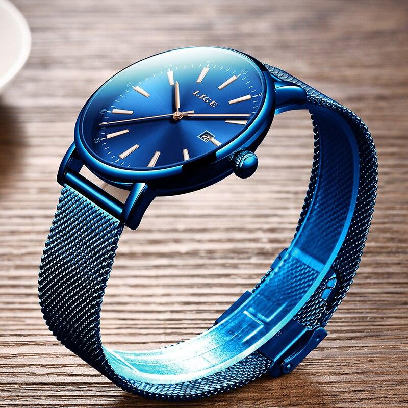 2019 nouvelle mode hommes montres Simple bleu étanche Date Quartz montre hommes Ultra-mince maille en acier Sport horloge Relogio Masculino