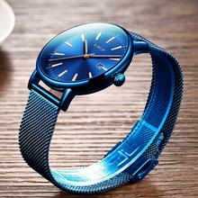 2019 nowy modne męskie zegarki proste niebieski wodoodporny zegarek quartz z datą mężczyźni Ultra-cienka siatka ze stali nierdzewnej zegarek sportowy Relogio Masculino tanie tanio LIGE 24cm Moda casual 3Bar Hook buckle CN (pochodzenie) STAINLESS STEEL 13mm Hardlex Kwarcowe Zegarki Na Rękę Papier