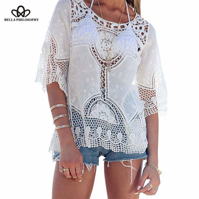 Bella Philosophy 2016 summer beach style hollow out hook flower short sleeve bikini cover up shirt blouse white