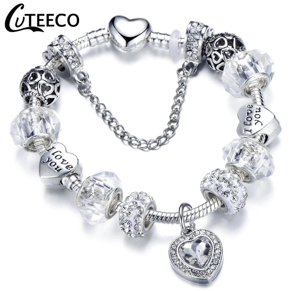 CUTEECO New Style Heart Pendant Charm Bracelets Silver Plated Snake Chain Women Bracelet Fashion Jewelry Dropshipping in Charm Bracelets from Jewelry Accessories