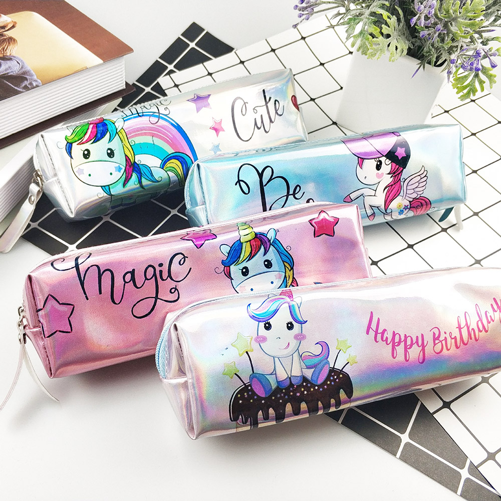 Unicorn Pencil Case Holographic Laser Pen Bag For Girl Boys Student Large Capacity Waterproof Pen Box School Supply Stationery
