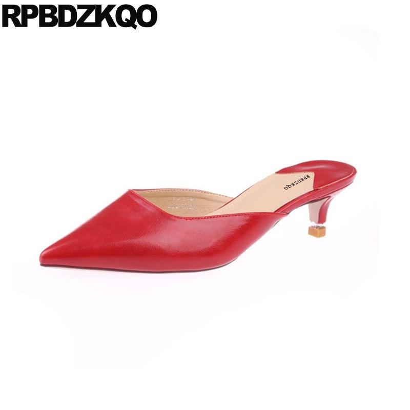 Designer Sandals Women Luxury 2018 Red Stiletto Closed Toe Shoes Slip On Summer Mules Famous Brand Slides Ladies Low Heel все цены