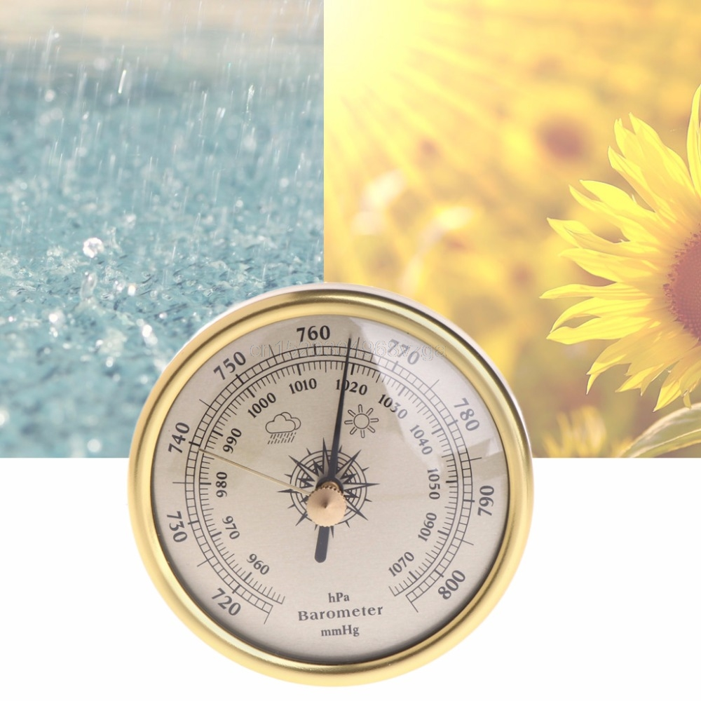 72mm Wall Hanging Barometer 1070hPa Gold Color Round Dial Air Weather Station Dial Barometer F24 dropshipping