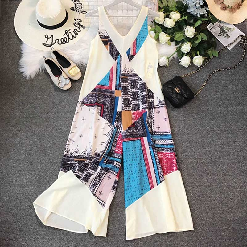 Nicemix Sleeveless Women Jumpsuit Boho Beach Wide Leg Pants V Neck Summer Tank Chiffon Rompers Korean Backless Print Bohemian