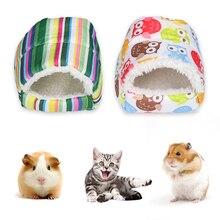 Мини-животное, зимний теплый дом, милый питомец для кошек, собак, кроликов, клетка, мягкая площадка для хомяка, кровать, гнездо, плюшевый мягкий домик для животных