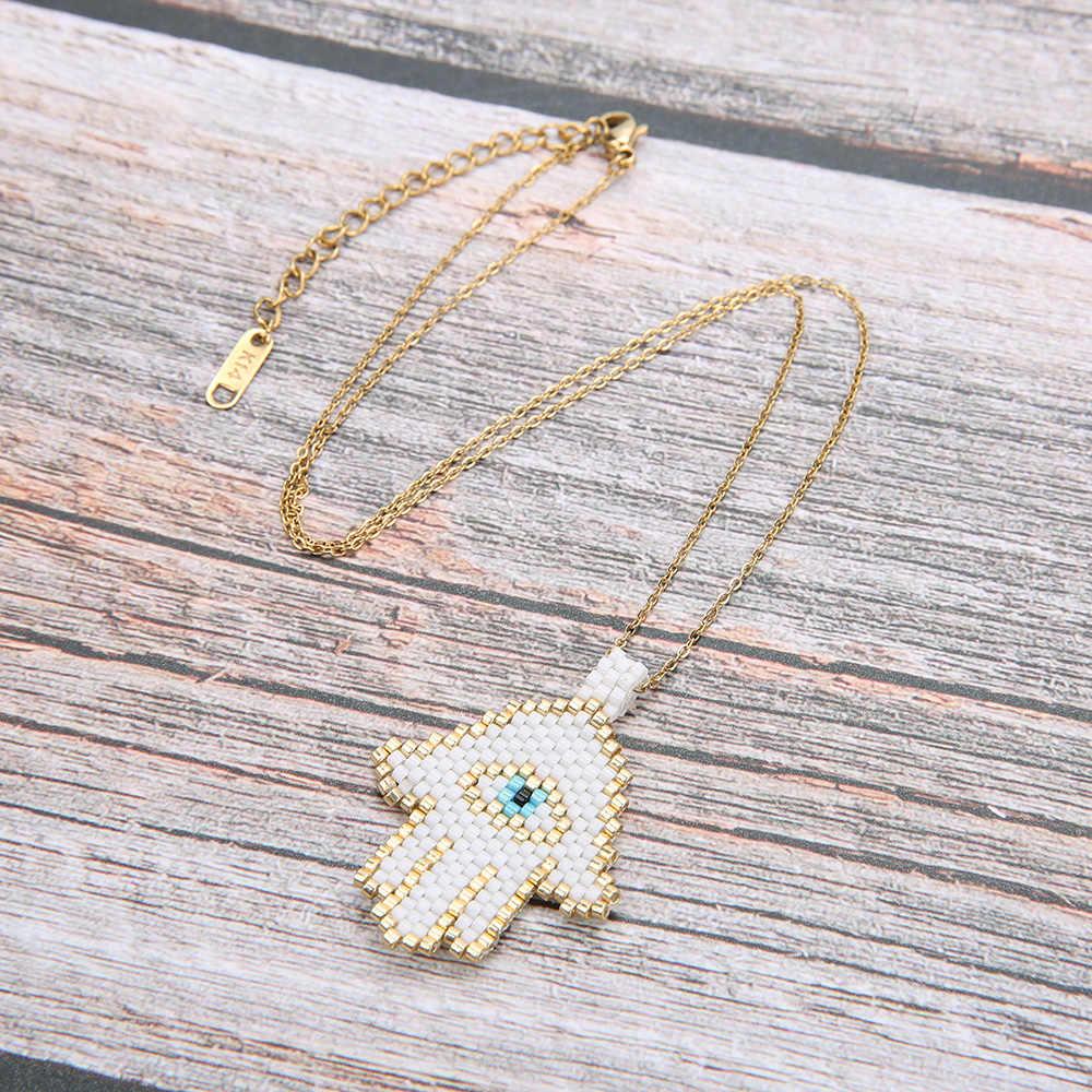 Rttooas Hamsa Hand Evil Eye Necklace Handmade MIYUKI Beads Lucky Necklace for Women Jewelry Accessories Gift
